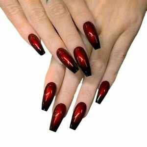 False nails UV Gel Long Coffin Ombre Red Black 24pk + glue by Beautiful nails
