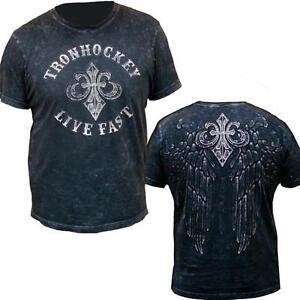 Tron Hockey 107089 Live Fast Cotton Short Sleeve T-Shirt Black White Mens Small