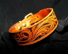 Western Dog Collar, & Leash Combo - Carved Leather & Upgraded Hardware