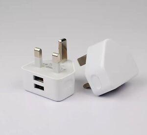 2.1A AMP Fast Dual Twin 2 Port USB Charger UK Mains Wall Plug Adapter 3 Pin