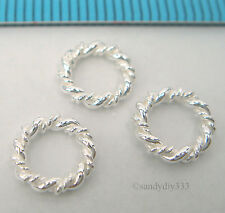 6x BRIGHT STERLING SILVER CLOSED TWIST JUMP RING EUROPEAN SPACER BEAD 8mm #2259