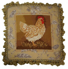 "20""x20"" Handmade Wool Needlepoint French Country Rooster Toile de Jouy I Pillow"