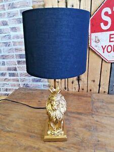 Außergewöhnliche Lampe Löwe Lion King sitzend Gold  51 cm Tischlampe Deko Tisch