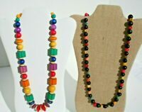 Vintage Multi Color Wood Disc Bead Necklaces Chunky Boho Statement