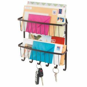 mDesign Wall Mount 2 Tier Metal Mail Organizer Storage Basket, 6 Hooks - Bronze