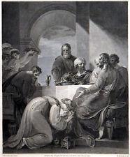 WOMAN WASHING JESUS'S FEET 1795 William Bromley William Hamilton ANTIQUE ETCHING
