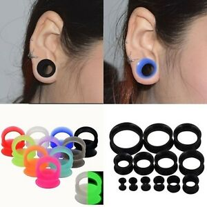 Pair Thin Silicone Ear Skin Ear Tunnels Plugs Gauges Earskin Earlets Flesh Gauge