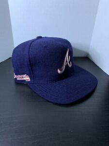 Vintage Atlanta Braves American Needle Blockhead SnapBack Hat Blue Wool Cap 2pac
