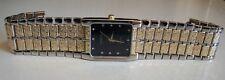 Men's Gold/silver Finish Black Dial Nugget style bracelet fashion Dressy watch