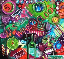 """It's always Wine o'Clock somewhere"" Gift Beer Original Painting by Astrid"