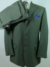 Pronto Uomo Firenze 100% Worsted Wool Solid Green Men's Suit 40 S 34x30 Italy