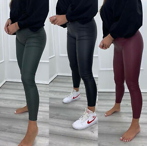 Women's Ladies Wet Look PU Matte High Waist Stretch Legging Pant Trousers New