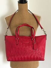 COACH #F29284 Red Gathered Leather Satchel Crossbody Bag Handbag Purse~NWT