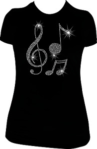 MUSIC NOTE RHINESTONE BLING SHIRT