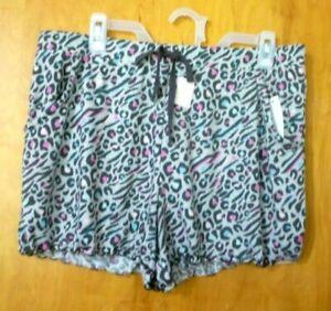 New Womens 2X 18W-20W Gray Animal Print Pajama Sleep Shorts