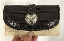 Large Snap Flap Wallet Heart with Angel Brown Faux Leather & Straw w/ Checkbook