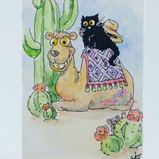 ACEO cat #240 original painting black cat mouse camel cactus desert whimsical