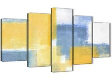 5 Piece Mustard Yellow Blue Abstract Office Canvas Decor - 5371 - 160cm