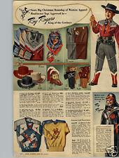 1950 PAPER AD Roy Rogers Raincoat Star Belt Scarf Bootsters Buckskin Gloves Hat