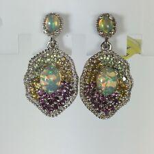 Ethiopian Welo Opal, Multi Gemstone Platinum Over Sterling Silver Earrings