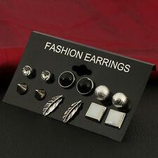 Women Jewelry Various Shape Styles Fashion Ear Studs Earrings 6 Pairs/Set