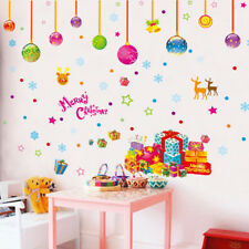 Merry Christmas Window Wall Stickers Decoration Baubles Stars Snow Presents Xmas