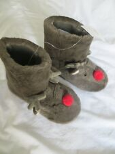 BNWT Girls Boys White Company Novelty Rendeer Faux Fur Boot Slippers Size 1-2