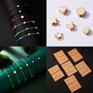 Fashion Heart Cross Wish Card Bracelet Rope String Lucky Bangle Women Jewelry