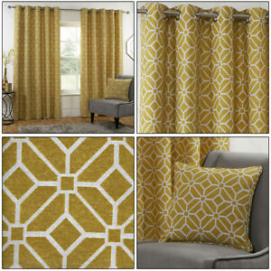 Ochre Mustard Eyelet Curtains Kelso Geometric Fully Lined Ring Top Curtains Pair