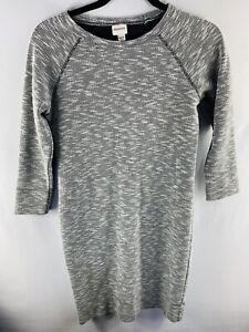 MERONA Women Size Small Light Gray Long Sleeve Shirt Dress Polyester Cotton
