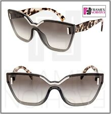 PRADA HIDE 16T PR16TS Silver Grey Sand Havana Translucent Shield Sunglasses 44e3b47e8d