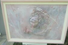 """Vintage 41""""L x 28"""" H 3D Framed BAS Relief Oil Painting On Canvas Abstract Face"""