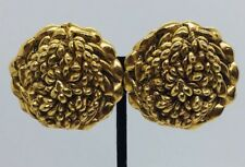Kalinger Paris Vintage Yellow Gold Plated Large Flower Costume Clip Earrings