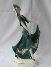 Tall Green Art Deco Porcelain Lady Goldscheider Era Katzhuette Katzhutte Germany