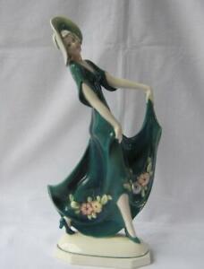 Tall Green Art Deco Porcelain Lady Goldscheider Era Katzhuette Katzhutte Germany