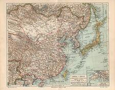 China Japan Korea Mongolei Peking Tsing-Tau LANDKARTE 1903