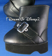 Build-A-Bear BLACK LEATHER-LOOK BUCKLE BOOTS Teddy Size Shoes