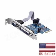 PCI-E Express RS232 Serial and LPT DB25 Printer Parallel Port Card US Stock