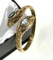 Vintage Art Deco Snake Bracelet Signed Andreas Daub Blue Topaz Paste Rolled Gold