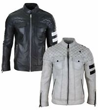Mens Real Leather Racing Jacket Biker Zipped Casual Napa Stripes Black White