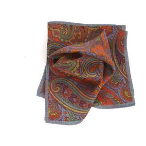 NWOT Made in Italy 100% Silk RedOrangish Paisley Pocket Square