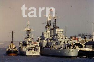 35mm slide Shipping scene HMS Belfast HMS Berwick 1960s r145