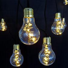 Lichterkette mit 10 großen Deko Glüh-Birnen mit 50 LED an Kupferdraht beleuchtet