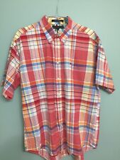 Tommy Hilfiger plaid short sleeve button-down collar button front shirt  - L
