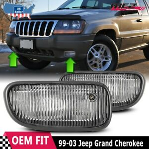 For Jeep Grand Cherokee 99-03 Factory Bumper Replacement Fog Lights Clear Lens