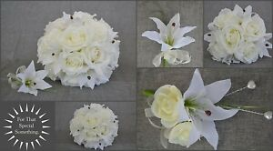 Wedding flowers with callailies & roses. Bridal bouquet, bridesmaid posy corsage