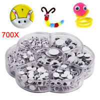 700 Googly Wiggly Wobbly Eyes SELF ADHESIVE NEW Crafts Mixed 7 Sizes 4mm to 14mm