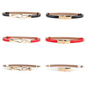 Women Ladies Fashion Skinny Gold Buckle Faux Leather Corset Waistband Belt