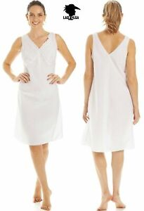 "Ladies Poly Cotton White Full Slips With Embroidery Built Up Shoulder""Lady Olga"""