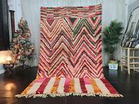 "Boujaad Moroccan Tribal Handmade Rug 5'5""x8'8"" Berber Striped Pink Wool Carpet"